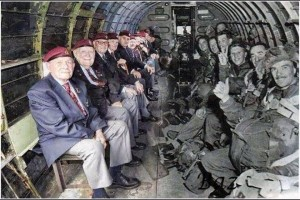 D-Day veterans sitting in the plane which dropped them over Normandy 50 years ago (via Do Something Facebook page)