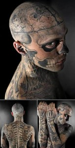 More than 3/4 of Rick Genest's body is covered in tattoos (Courtesy of Wikimedia Commons)