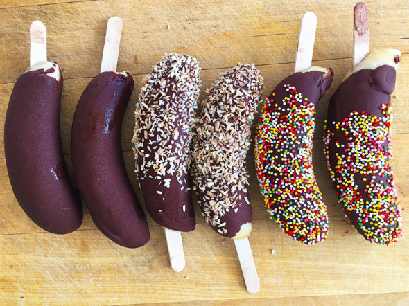 Breakfast ideas  –  peanut-butter coated frozen banana with sprinkles